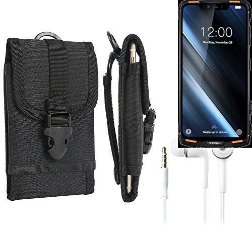 K-S-Trade® Schutzhülle Für Doogee S90 Gürteltasche Handyhülle Schutz Hülle Gürtel Tasche Handy Tasche Outdoor Seitentasche Schwarz 1x + Kopfhörer