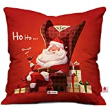 Indibni Christmas Gifts HO HO HO Quote Relaxed Santa Claus Sitting On A Chair with Christmas Presents Red Cushion Cover 18x18 - Gift for Xmas, New Year, Anniversary, Birthday, Home Décor