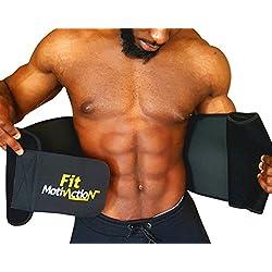 FitMotivaction Bauchweggürtel | Atmungsaktives Neopren, bequem, unterstützend & Verstellbarer Abnehm Fitnessgürtel Saunagürtel Schwitzgürtel | Bauchmuskeln straffen, Abnehmen, Bauchfett weg