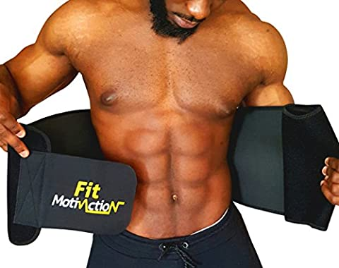 FitMotivaction Waist Trimmer Belt for women and men – Adjustable Belly Fat Burner One size fits all S-XXXL – Neoprene Sweat Belt for Weight Loss – Waist Belt for Weight Loss – Personal Sauna Belt- Waist trimmer for weight loss and ab toning – Lower Back Belt and Lumbar Support Belt– BONUS: Fitness Guide for Tummy Abs to train smarter + 1 Carry Bag + 1 Measuring