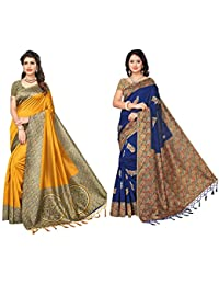 Saree Mall Women's With Blouse Piece Art Silk Saree (Srja037_039 _Multi-Coloured_Free Size)Combo Pack