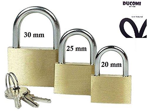 ducomi® Set von 3Vorhängeschloss Diebstahlsicherung aus Messing in 3verschiedenen Abmessungen Öffnung mit 2Schlüsseln–Ideal für Schränke, Fahrrad, Ketten, Behälter Dachträger