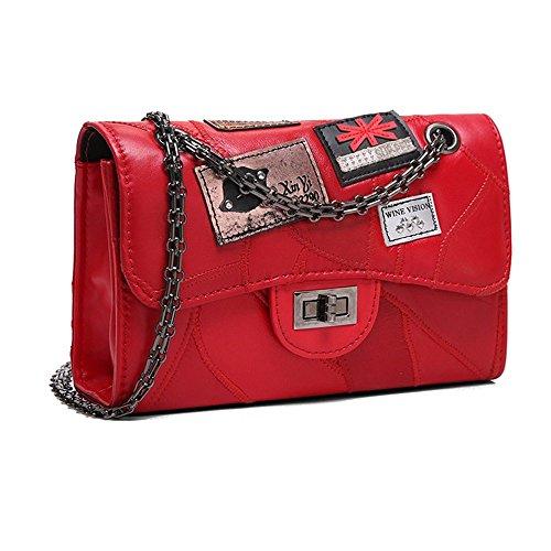cbee012e7f178 PU-Handtaschen Persönlichkeit Mode Abzeichen Kette Kette Umhängetasche  Messenger Bag Umschlag Tasche kleine quadratische Paket