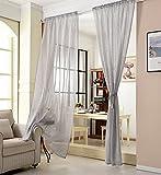WOLTU® VH5860hgr, Gardinen transparent mit Kräuselband Leinen Optik, Vorhang Stores Voile Fensterschal Dekoschal für Wohnzimmer Kinderzimmer Schlafzimmer, 140x225 cm, Hellgrau, (1 Stück)
