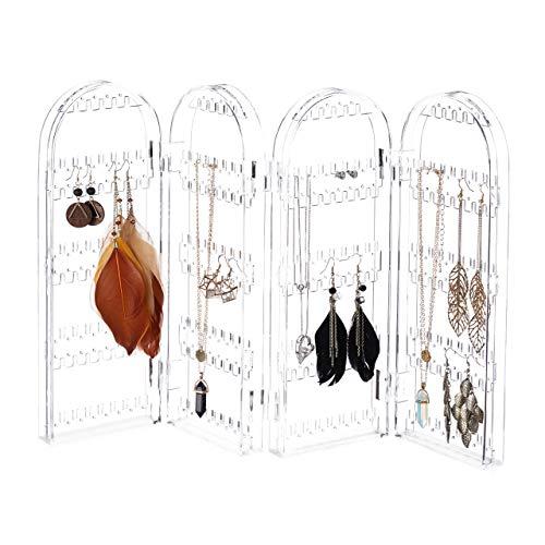 Relaxdays Expositor Pendientes Plegable, Acrílico, 4 Compartimentos, 28 x 10.5 x 8 cm
