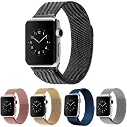 Apple Watch Band, JOKERET Milanese Stainless Steel Fully Magnetic Closure Clasp Bracelet Mesh Metal Loop Band Strap for Apple Watch All Models(38mm Black)