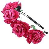 AWAYTR Mädchen Braut Blumenkrone Stirnband Haarband Blumen Girlande Kopfstück zum Hochzeit Parteien (Rose rot)