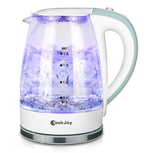 Wasserkocher Glas Weiß mit LED-Beleuchtung, CookJoy BPA-Frei Elektrischer Wasserkocher mit Abnehmbarem Teesieb| 1,8L| 2200W| Trockengehschutz| Automatische Abschaltung