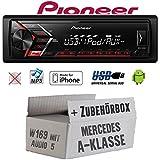 Mercedes A-Klasse W169 Audio 5 - Autoradio Radio Pioneer MVH-S100UI - | MP3 | USB | Android | iPhone Einbauzubehör - Einbauset