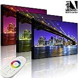 Beleuchtetes Bild - Skyline von Manhattan - 100 x 70 cm - front lighted - MADE IN GERMANY