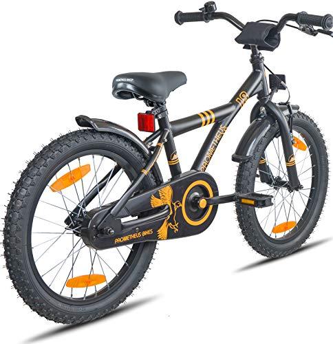 Prometheus Bicicletta per bambini e bambine dai 6 anni nei colori Nero Opaco e Arancione da 18 pollici con freno a V in alluminio e contropedale – BMX da 18″ modello 2019 - 5