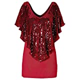 Linkay T Shirt Damen Langarm Bluse Tops Sequin Sparkle Glitter Oberteile Mode 2019 (Rot, Large)
