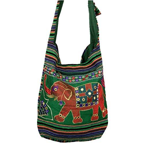Tracolla Hippie Con Motivo Elefante Ricamato E Elementi Riflettenti Rosso - Verde