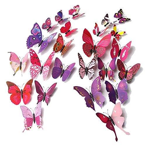 Forepin® 24 Pezzi 3D Farfalle Magnete Casa Camera Frigo Decorazioni Animal Wall Sticker Adesivi Murali (Vinyl Artigianato Segni)