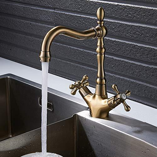 Rubinetto per lavello rubinetto da cucina in ottone anticato classico miscelatore per lavandino bronzo doppio comando acqua calda e fredda