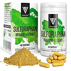 Vitalfuel® - Sulforaphan Kapseln hochdosiert - 60 Stück - aus Brokkoli Extrakt & Brokkolisprossen - mit Bioperine® & bioaktivem Vitamin B12, VEGAN - 35 mg Sulforaphane pro Tagesdosis