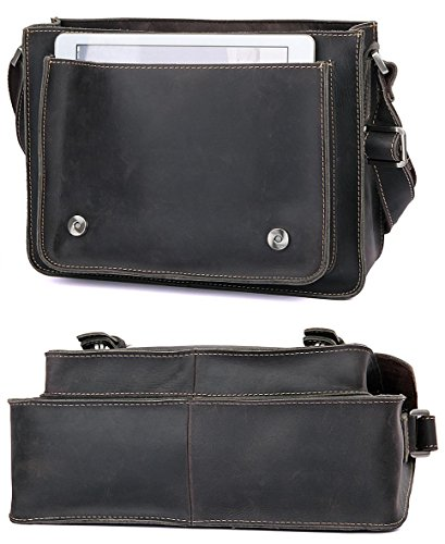 Everdoss Herren Aktentasche Vintage Ledertasche Handtasche Umhängetasche Messenger Bag Grau Grau