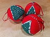 Set 3 palle di Natale con albero - decorazioni natalizie – palline sfere di Natale ornamenti per albero di Natale - decorazione casa per Natale - fatto a mano ad uncinetto in lana. Idea regalo o da collezione handmade