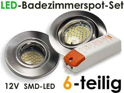 "12V SMD-LED Einbaustrahlerset ""Splashing + Trafo"" für Bad & Dusche, 6-teilig, Metall gebürstet"