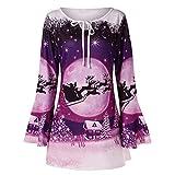 IZHH Damen Pullover Mode Frauen Frohe Weihnachten Plus Größe Aufflackern Ärmel Druck T-Shirt Tops Bluse Trompete Ärmel Mit Bedruckten Tops T-Shirts Tunika Blusen Pullover SweaT-Shirts(Lila,XXXX-Large)