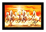 #10: JSOnline Lucky Seven 7 running horses Vastu Recommendation || vastu painting for home and office || Seven 7 lucky running horses painting || Seven 7 horses painting || seven 7 horses || vastu horses UV Digital Matte Textured Paintings with Synthetic Wooden Frame 12x18 Inch for living room and home decore