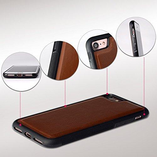 iPhone 8 Hülle, iPhone 7 Hülle, SHANSHUI 2in1 Doppelschutz Handyhülle mit RFID Schutz, Bookstyle mit Kartenfach (Pink/Rosa) Braun