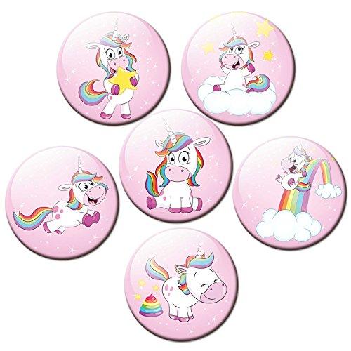 Kühlschrankmagnete Einhorn Rosa Magnete für Magnettafel Kinder stark 6er Set mit Motiv Tiere...