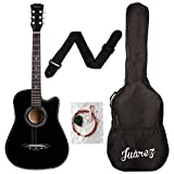 #7: Juarez JRZ38C 6 Strings Acoustic Guitar 38 Inch Cutaway, Right Handed, Black with Bag, Strings, Picks and Strap