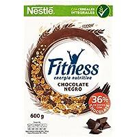 Cereales Nestlé Fitness con chocolate negro - Copos de trigo integral, arroz y avena integral tostados - 16 paquetes de cereales de 375g