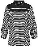 TAIFUN Damen Bluse 360023-11014, Mehrfarbig (Off-White/Black Ringel 9705), 42