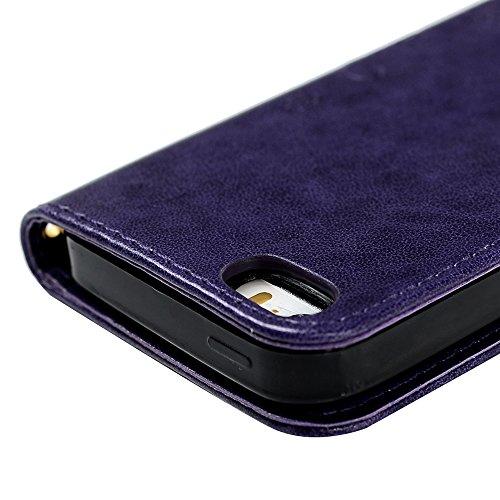 Maviss Diary iPhone SE / 5 / iPhone 5S Cover Pelle Grigio, Retro Fiore Modello Stampata Design Con Cinturino da Polso, Magnetico Snap-on Book Style Internamente Silicone TPU Case Protettiva Folio Fli Porpora