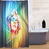 Kinlo® 180 x 200 cm 3D Design Bunte Monroe Wasserdicht Duschvorhang Pflegeleicht 90g/m² 100% Polyester inkl. 12 Duschvorhangringen