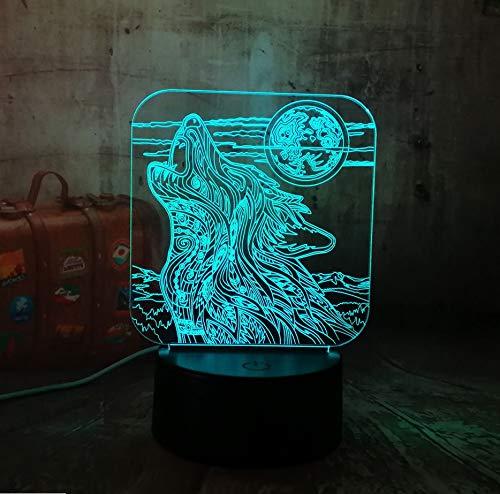 Heulen Wolf 3D Led Acryl Rgb Nachtlicht Usb Touch Control Home Decro Kinder Schreibtischlampe Kind Weihnachtsgeschenk ()