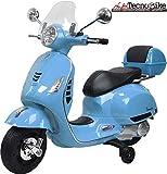 Tecnobike Shop Moto Elettrica Piaggio per Bambini Vespa GTS B70592 con Parabrezza e Bauletto Rotelle 12V luci LED Suoni (Blu)