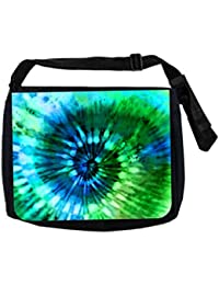 Max Wilder Green And Blue Tie Dye Burst School Messenger Bag, Black
