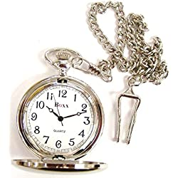 Gift Boxed Silver Plated Pocket Watch Engraved Free
