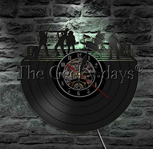 CQAZX 1 Stück Rockmusik Band Schallplatte Wanduhr Rock'n'Roll Led Rock Gruppe Musik Live Wandleuchte Led Zeitgenössische Wandleuchte