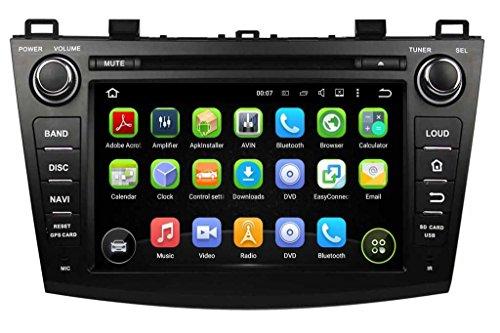Doublé Din 8 pouces Android 5.1.1 Lollipop lecteur DVD de voiture pour Mazda 3 2010 2011 2012 2013,1024x600 écran tactile capacitif avec Quad Core Cortex A9 1.6G CPU 16G flash et 1G de RAM DDR3 GPS Navi Radio Lecteur 3G/WIFI Aux Input OBD2 USB/SD DVR