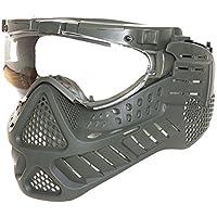 Olivo Verde Tactical Máscara Paintball Airsoft Airsoft–Máscara Máscara Completa Goma con LED y Ventilador