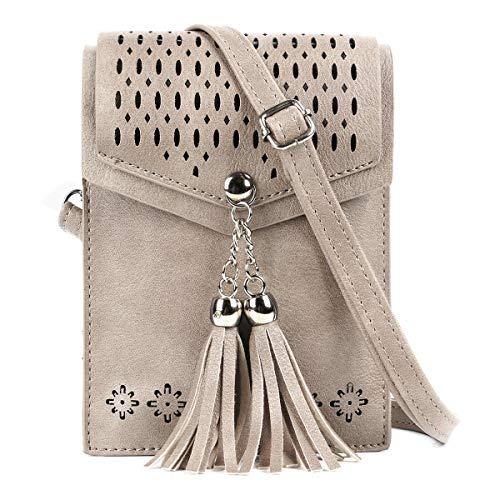 SeOSTO Frauen Mini Umhängetasche, Quaste Umhängetasche Handy Geldbörse Wallet [Vintage Beige] -
