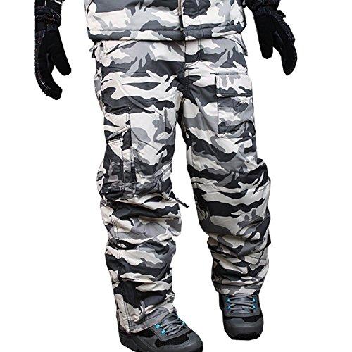 Myglory77mall pantaloni mimetici impermeabili per uomo e snowboard medio s06