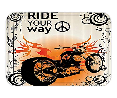 VICKKY Doormat Manly Decor Set Motorcycle Image with Ride Your Way Text Peace Sign Freedom Action Freestyle Bathroom AccessorieW L 23.6 W X 15.7 W Inches -