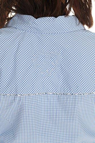 Spieth & Wensky Damen Bluse langarm Trachtenbluse kariert mit Krempelarm und Stickerei Rot