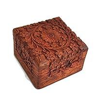 storeindya Sale Beautifully Hand Carved Wooden Keepsake Box Jewellery Chest Organiser Unique Gift Ideas for Men & Women (Design 9)