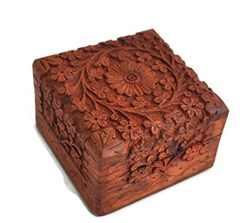 storeindya Sale Beautifully Hand Carved Wooden Keepsake Box Jewellery Chest Organiser Unique Gift Ideas for Men & Women (Design 9)