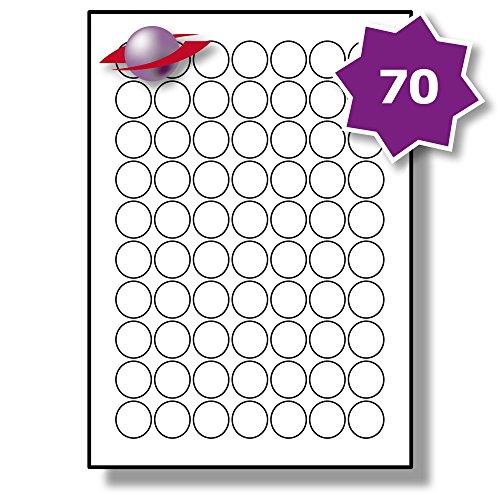 70 Pro Blatt, 10 Blätter, 700 Etiketten. Label Planet® A4 Runden Schlicht Weiß Matt Papier Etiketten Für Tintenstrahl und Laserdrucker 25mm Durchmesser, LP70/25 R.