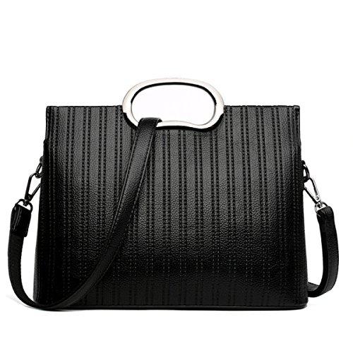 Frauen-Umhängetasche Mode-Persönlichkeit Schräge Kreuz Handtasche,Black (Mode Klassische Satchel)