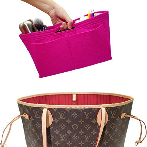 LEXSION Filz-Handtaschen-Organizer mit Reißverschluss in Tasche mit zwei abnehmbaren Flaschenhaltern, Rot (rosig), Large (Base Shaper Speedy)