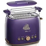 DZW 2 Slice Retro Toaster • 2 Slots • Toast Rack • 680 W • Abtauung • Auftauen und Aufwärmen • Edelstahl • Abnehmbarer Krümelbehälter • Lila Multifunktion