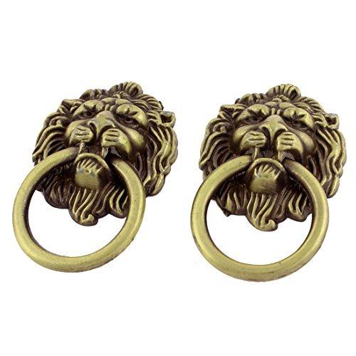Preisvergleich Produktbild Löwe-Kopf-Antike-Art-Schublade Ring-Pull-Knopf Griff 2 Stück Bronze Tone